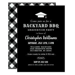 Rustic Black Backyard BBQ Graduation Party Invitation