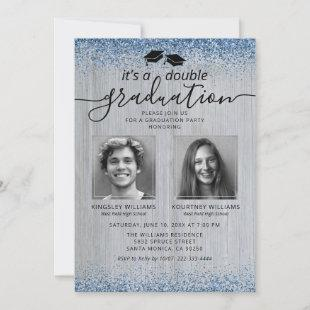 Rustic Blue Glitter Double Graduation Photo Invitation