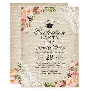 Rustic Blush Floral Lace Burlap Graduation Party Invitation