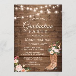 Rustic Boots Floral String Lights Graduation Party Invitation