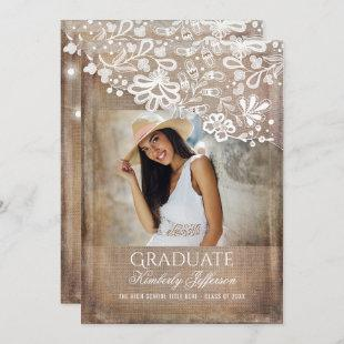 Rustic Burlap Lace String Lights Photo Graduation Invitation