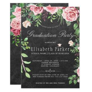 Rustic Chalkboard Pink Roses Graduation Party Invitation