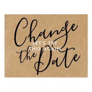 Rustic Change the Date Postponed Cancelled Event Postcard