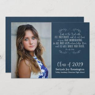 Rustic Christian Bible Verse Graduation Photo Invitation