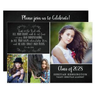 Rustic Christian Graduation Bible Verse Photo Invitation