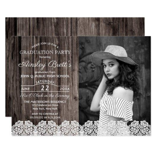 Rustic Country Lace   Wood Photo Graduation Party