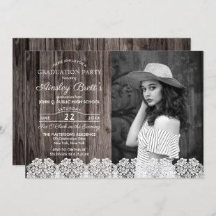 Rustic Country Lace | Wood Photo Graduation Party Invitation