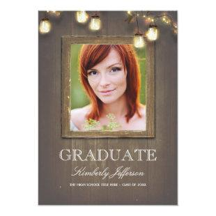 Rustic Country Mason Jar Lights Photo Graduation Invitation