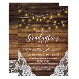 Rustic Country String Lights Wood Lace Graduation Invitation