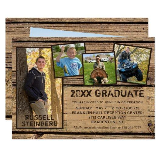 Rustic Country Wood 20XX GRADUATE | 5-Photo Invitation