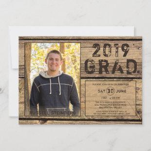 Rustic Country Wood GRAD One Photo Invitation