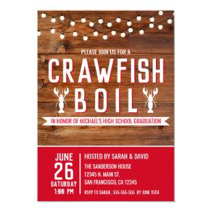 Rustic Crawfish Boil Graduation Seafood Party Invitation