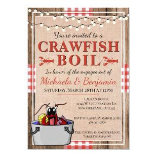 Rustic Crawfish Boil Lobster Party Engagement Invitation