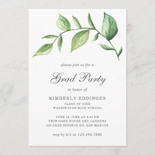 Rustic Elegant Greenery Sprig Graduation Party Invitation