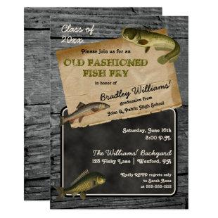 Rustic Fish Fry Graduation Backyard Cookout Party Invitation