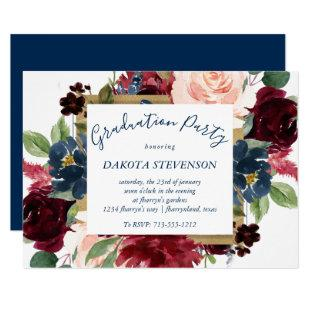 Rustic Floral | Navy Burgundy Red Frame Graduation Invitation