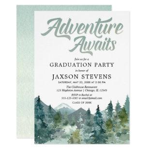 Rustic forest mountains graduation party invitation