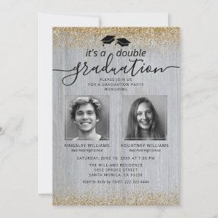 Rustic Gold Double Graduation Photo Invitation