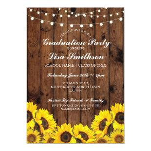Rustic Graduation Party Sunflower Wood Invite