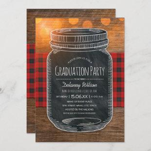 Rustic Graduation Party Unique Country Mason Jar Invitation