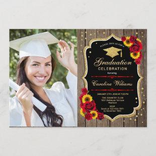 Rustic Graduation Party With Photo - Sunflowers Invitation