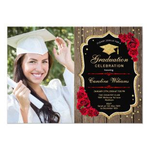 Rustic Graduation Party With Photo - Wood Roses Invitation