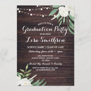 Rustic Graduation White Flowers Lights Wood Invite
