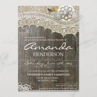 Rustic Lace Wood Graduation  Invitation
