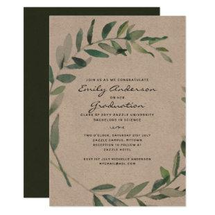 Rustic Leaves Graduation Invites Kraft Olive