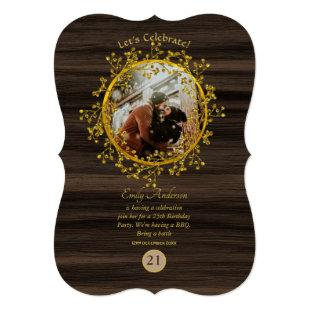 Rustic PHOTO ANY EVENT Gold Wreath Wood Modern Invitation