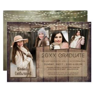 Rustic Photo Collage Wood String Lights Graduation Invitation