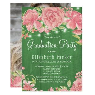Rustic pink blush peonies PHOTO graduation party Invitation
