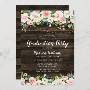 Rustic Pink Floral String Lights Graduation Party Invitation