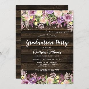 Rustic Purple Floral String Light Graduation Party Invitation