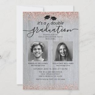 Rustic Rose Gold Double Graduation Photo Invitation