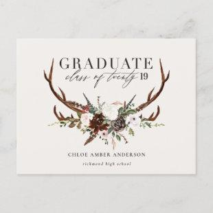 Rustic stag and floral graduate party invitation
