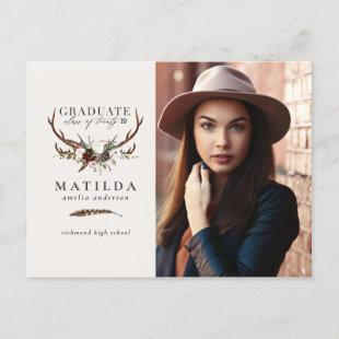 Rustic stag and floral graduate party photo announcement postcard