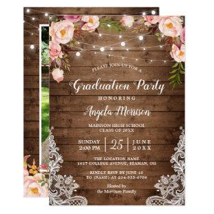 Rustic String Lights Floral Photo Graduation Party Invitation