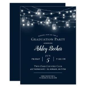 Rustic String Lights Graduation Party BBQ Invitation