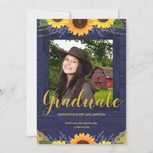 Rustic Sunflower Blue and Gold 2 Photo Graduation Announcement