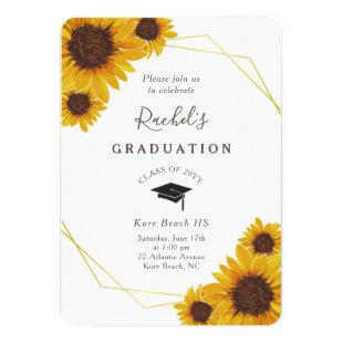 Rustic Sunflower Gold Geometric Graduation Party Invitation