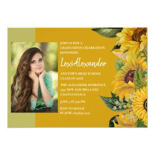 Rustic Sunflower Graduation Party Girl Photo Invitation