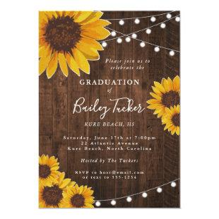 Rustic Sunflower Graduation Party String Lights Invitation
