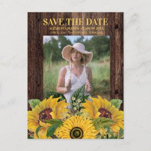 Rustic Sunflower Graduation Save Date Announcement