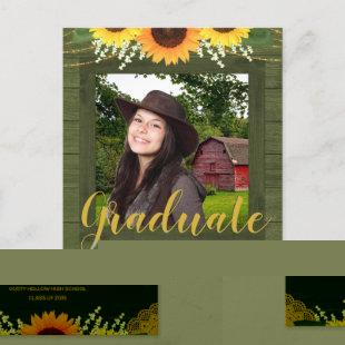 Rustic Sunflower Green and Gold Photo Graduation Announcement Postcard