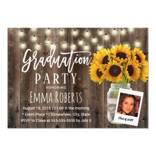 Rustic Sunflower Mason Jar Photo Graduation Invitation