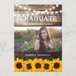 Rustic Sunflower Photo 2021 Graduation Party Invitation