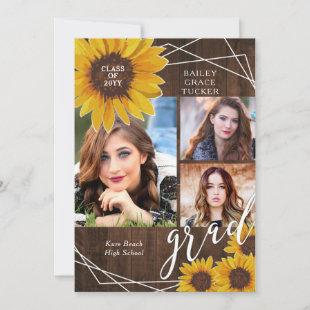 Rustic Sunflower Photo Collage Graduation Announcement