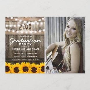 Rustic Sunflower Photo Graduation | Class of 2021 Invitation