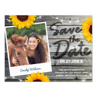 Rustic Sunflower Photo Graduation Save the Date Magnetic Invitation